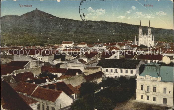 Versecz Ortsansicht mit Kirche Latkep Kat. Serbien