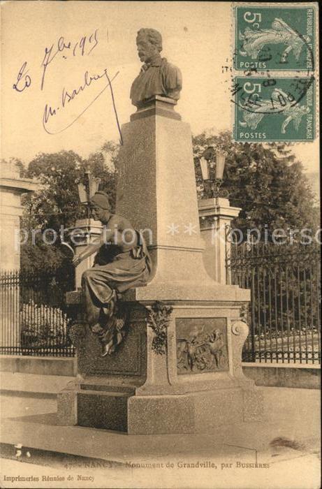 Nancy Lothringen Monument de Grandville par Bussieres Stempel auf AK / Nancy /Arrond. de Nancy