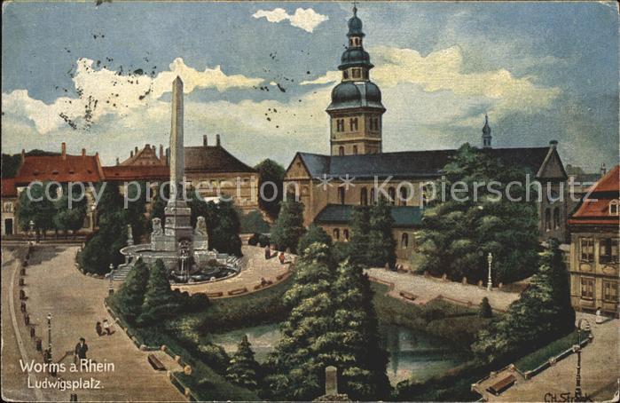 Worms Rhein Ludwigsplatz Kirche Kat. Worms