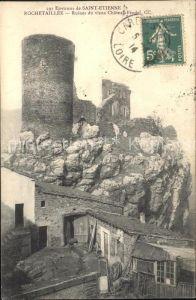 Rochetaillee Saint Etienne Ruines du vieux Chateau Feodal Stempel auf AK Kat. Saint Etienne