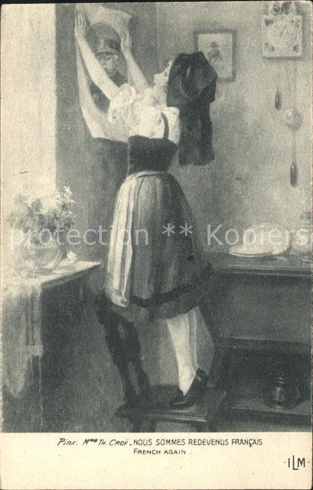 Elsass Alsace Nous sommes redevenus francais Kuenstlerkarte Kat. Epinal