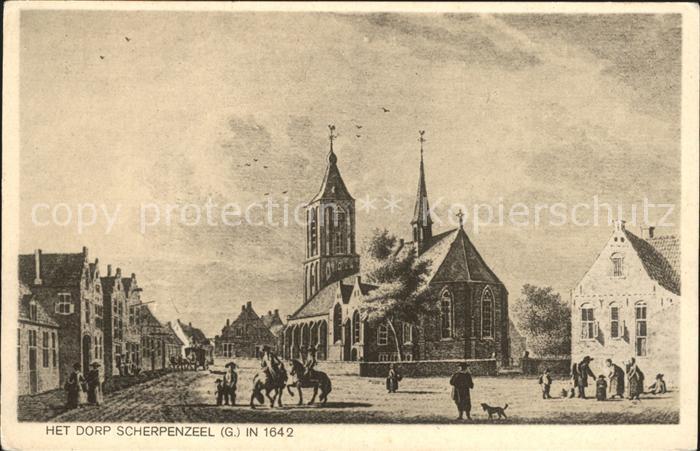 Scherpenzeel Het Dorp in 1642 Kuenstlerkarte 0