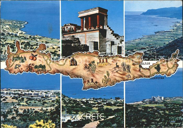 Kreta Karte Mit Sehenswürdigkeiten.Crete Kreta Panorama Palast Von Knossos Landkarte Sehenswuerdigkeiten Kat Insel Kreta
