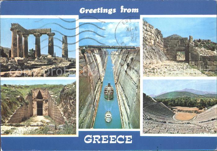 Griechenland Greece Kanal von Korinth Tempel Antike Staetten Amphitheater Kat. Griechenland