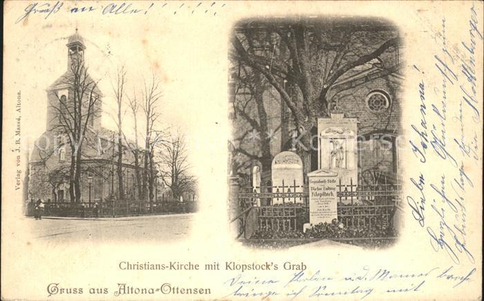 Ottensen Hamburg Christians Kirche mit Klopstocks Grab Kat. Hamburg