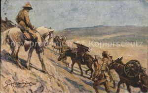 Deutsch Ostafrika Maschinengewehrtransport im Gebirge Kuenstlerkarte Fritz Grotemeyer Kat. Deutsch Ostafrika