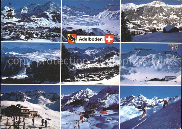 Adelboden Engstligenalp Skifahrer Sesselbahn Skifahrer Luftseilbahn Kat. Adelboden
