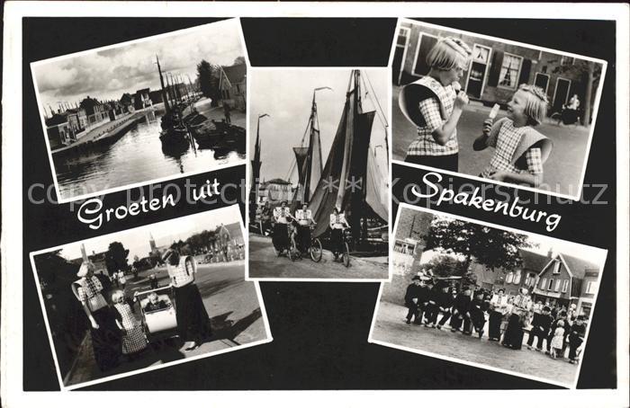 Spakenburg Kanal Schiff Trachten Kinder Kat. Bunschoten Spakenburg