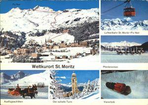 St Moritz GR Luftseilbahn Pferderennen Viererbob schiefe Turm  Kat. St Moritz