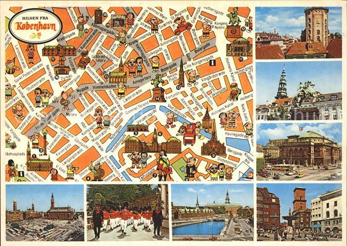 Kobenhavn Radhuspladsen Tivoli Gammel Torv med Domkirken Kat. Kopenhagen