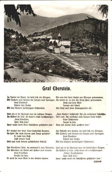 Baden Baden Schloss Eberstein Gedicht Graf Eberstein Kat. Baden Baden