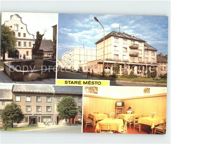 Stare Mesto Pod Landsteijnem Zakladni skola s kasnou Neptuna Nakupni stredisko a bytova vystavba Hotel Narodni dum Interieur hotelu Kat. Tschechische Republik