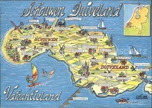 Schouwen Duiveland Vakantieland Landkarte mit Sehenswuerdigkeiten Insel Kat. Schouwen Duiveland