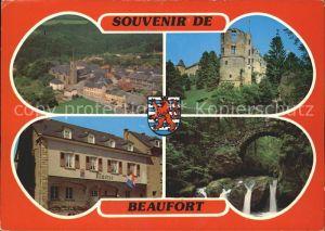 Beaufort Befort Luxembourg Vue generale Chateau Mairie Schiessentuempel Wasserfall Kat. Echternach