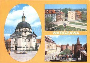 Warszawa Koscial Sakramentek w Rynku Nowego Miasta Ulica Mostowa Widok na Barbakan i Baszte Prochowa Kat. Warschau Polen