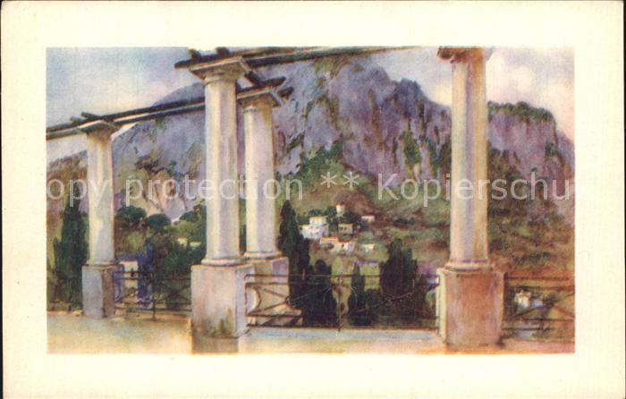 Il Vesuvio Dalla Terrazza Della.. 2050575 Künstler Ak Capri Neapel Campania