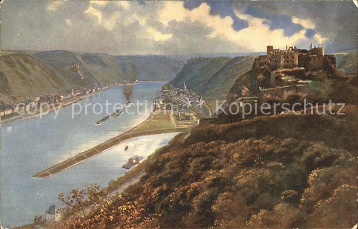 St Goar mit St Goarshausen und Ruine Rheinfels / Sankt Goar /Rhein-Hunsrueck-Kreis LKR