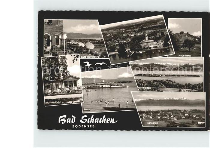 Bad Schachen Lindau Cafe Hoyerberg Fliegeraufnahme Parkidyll Faehre Lindau Schachen Kat. Lindau (Bodensee)