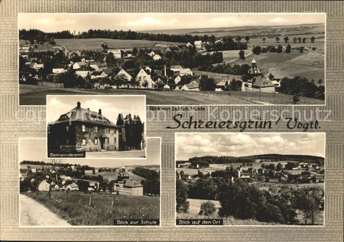 Schreiersgruen Plauen Panorama Gemeindeamt Schule Ortsblick