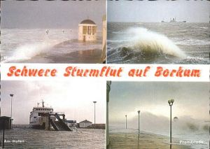 Borkum Nordseebad Schwere Sturmflut Hafen Promenade Kat. Borkum