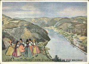 Wachau Oesterreich Vom Blindenmarkt zum Stausee und in die Wachau Kuenstlerkarte Kat. Oesterreich