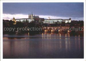 Praha Prahy Prague Burg Karlsbruecke Moldau Kat. Praha