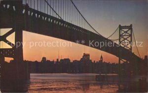 Delaware PA River Bridge and Philadelphia Sunset / USA /