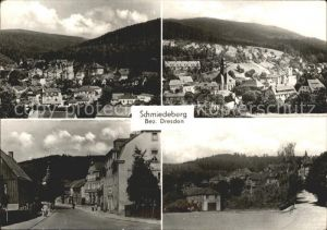 Schmiedeberg  Dippoldiswalde Ortsansicht mit Kirche Strassenpartie