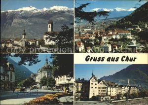 Chur GR Hof mit dem Calanda Postplatz Obertor Vilan und Falkis Kat. Chur