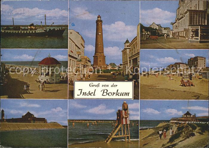 Borkum Nordseebad Teilansichten Insel Dampfer Pavillon Strand Leuchtturm Duenen Kat. Borkum