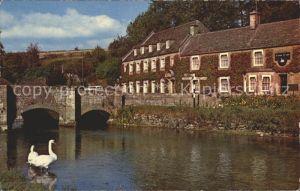 Bibury River Coln Bridge Swan / Cotswold /Gloucestershire