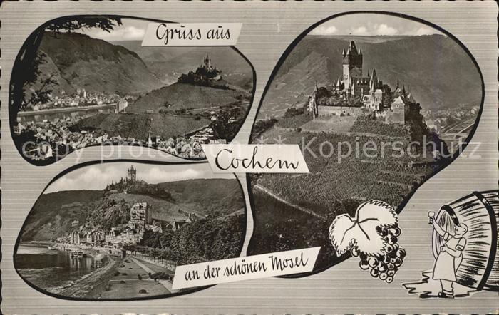 Cochem Mosel Burg Panorama Mosel Kat. Cochem