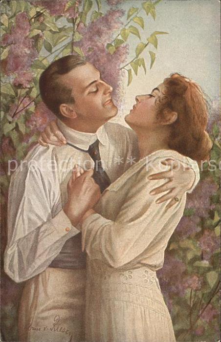 Kuenstlerkarte A. von Riesen Im Fruehling des Lebens Paar  Kat. Kuenstlerkarte