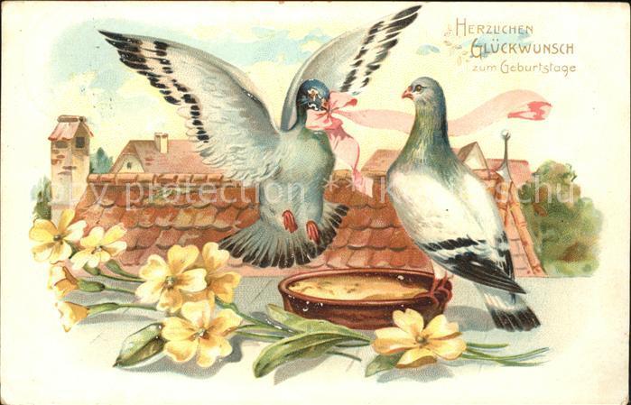 Tauben Geburtstag Blumen Schleife Kat Tiere Nr Dd52080 Oldthing