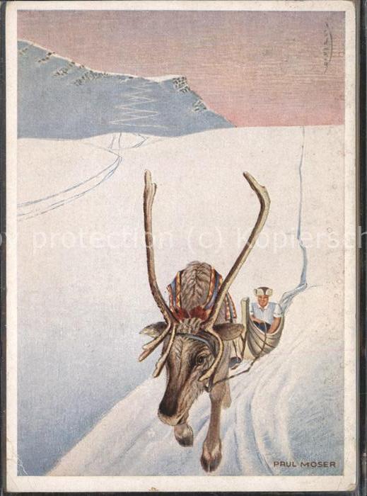 Kuenstlerkarte Paul Moser Hirsch Renntier Schlitten Winter Kat. Kuenstlerkarte