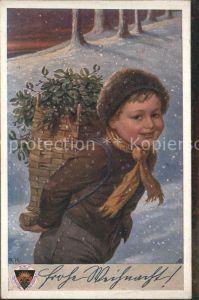 Kinder Child Enfants Winter Korb Frohe Weihnachten Kuenstlerkarte / Kinder /