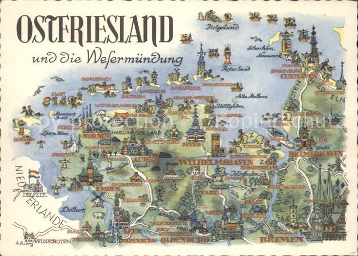Ostfriesland Landkarte Kat Regionales Nr Hf26905 Oldthing