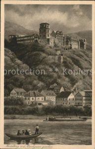 Burgen Heidelberg Zeichnung Kuenstlerkarte Hoffman Kat. Burgen und Schloesser