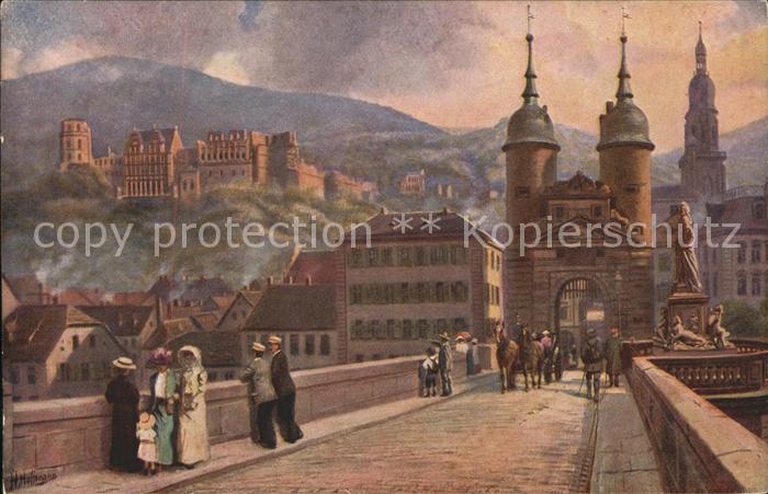 Hoffmann Heinrich Heidelberg Schloss Neckarbruecke Kat. Kuenstlerkarte
