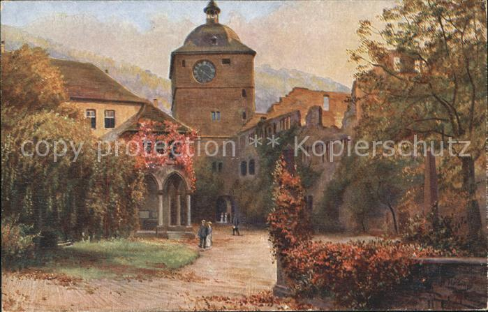 Hoffmann Heinrich Schloss Heidelberg Wartturm Ludwigsbau Kat. Kuenstlerkarte