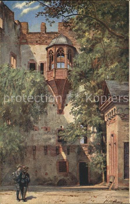 Hoffmann Heinrich Schloss Heidelberg Biblotheksbau Erker Kat. Kuenstlerkarte