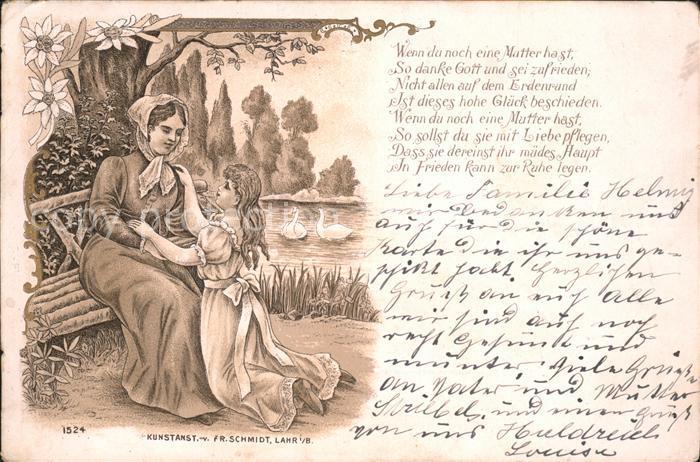 Kuenstlerkarte Schmidt Lahr Mutter Tochter Gedicht Kat. Kuenstlerkarte