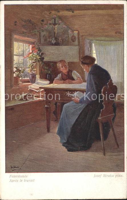 Kuenstlerkarte Josef Straka Felerstunde Kat. Kuenstlerkarte