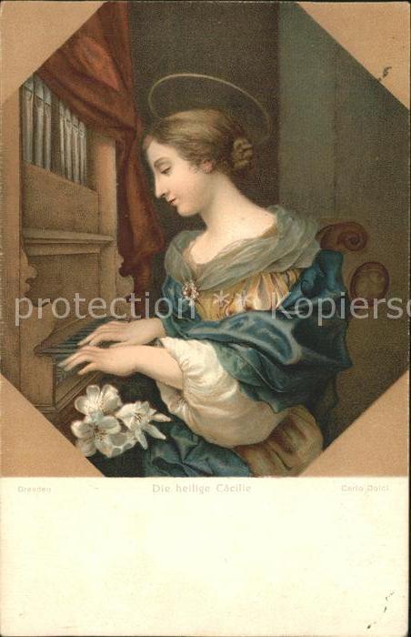 Kuenstlerkarte Carlo Dolci die heilige Caecille Dresden Kat. Kuenstlerkarte
