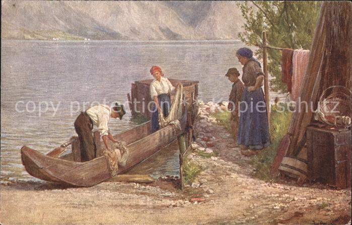 Kuenstlerkarte Josef Straka gem. Wiener Volkskunst Boot Fischers Heimkehr Kat. Kuenstlerkarte
