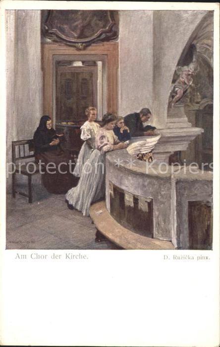 Kuenstlerkarte D. Ruzieka Am Chor der Kirche Gebet Kat. Kuenstlerkarte