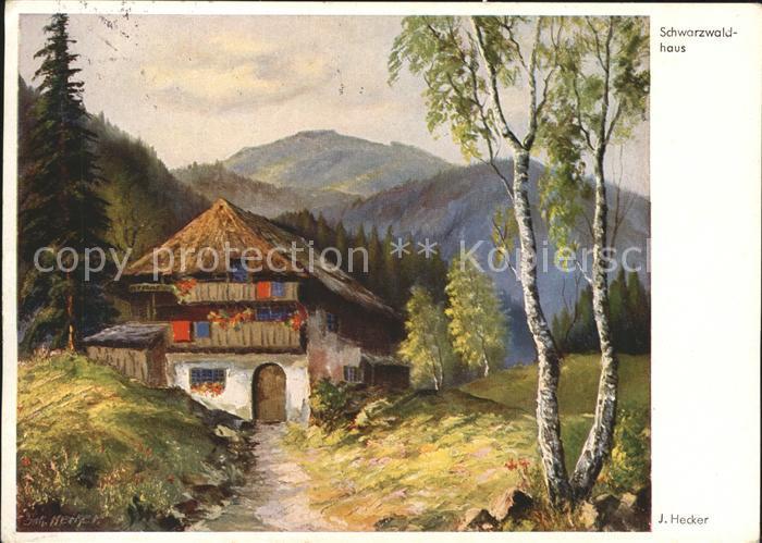 Kuenstlerkarte Hecker J. Schwarzwaldhaus Kat. Kuenstlerkarte