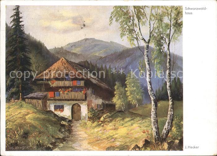 Kuenstlerkarte J. Hecker Schwarzwaldhaus Kat. Kuenstlerkarte