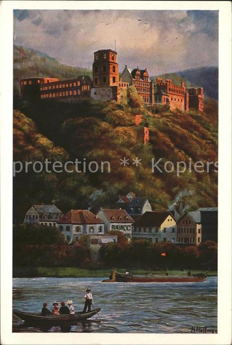 Hoffmann Heinrich Heidelberger Schloss Hirschgasse Kat. Kuenstlerkarte