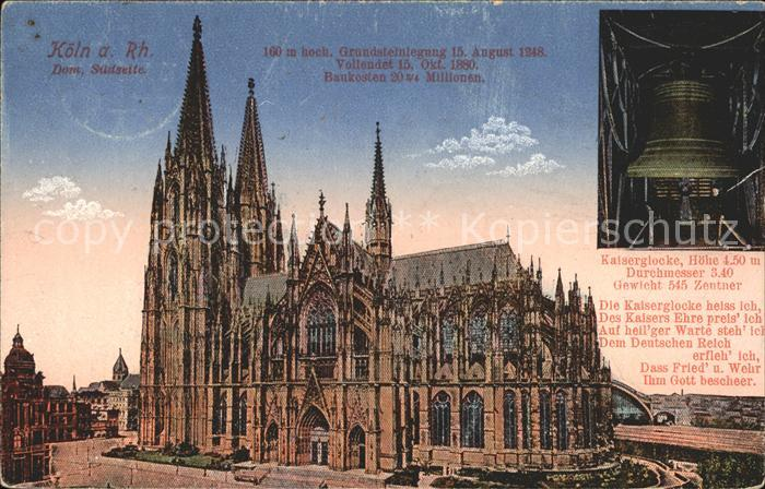 Kirchenglocken Kaiserglocke Koeln Dom Suedseite  Kat. Gebaeude